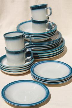vintage Wedgwood dinnerware set for 4, Blue Pacific oven to table casual china