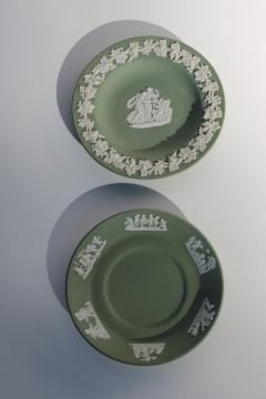 vintage Wedgwood jasperware mini plates, celadon or sage green w/white