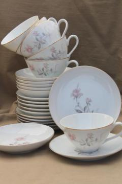 vintage Wentworth Fine China Japan, Desire pink rose cups & saucers, plates, bowls