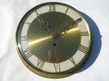 vintage West Germany clock part, movement w/ metal case & glass cover