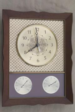 vintage Westclox weather station clock, thermometer & hygrometer humidity meter