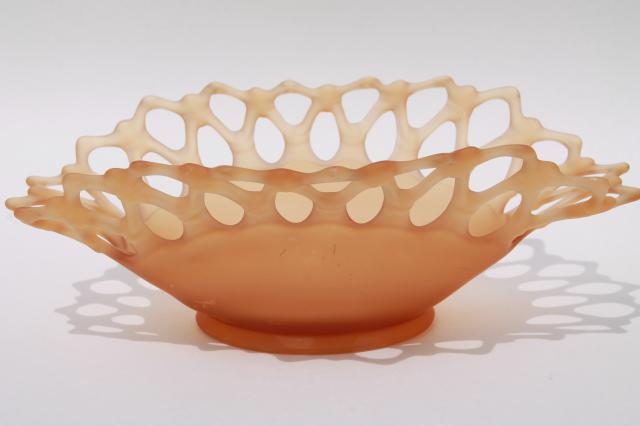vintage Westmoreland amber mist frosted glass Doric open lace edge oval fruit bowl