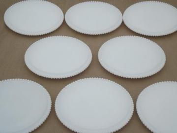 vintage Westmoreland beaded edge  milk glass plates, 8 salad or cake plates