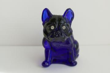 vintage Westmoreland cobalt blue glass dog w/ rhinestone eyes, Frenchie or bulldog
