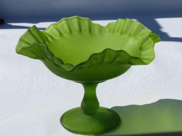 vintage Westmoreland lime green frosted satin glass ruffled candy dish or pedestal bowl