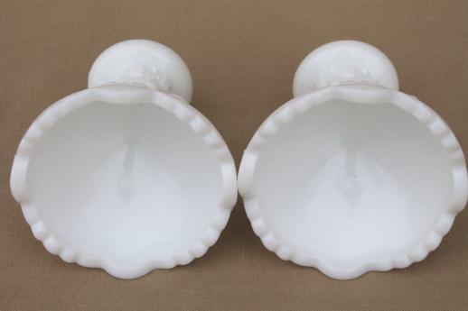 vintage Westmoreland milk glass candlesticks, Old Quilt pattern candle holders pair