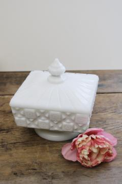 vintage Westmoreland milk glass candy dish, old quilt pattern square box