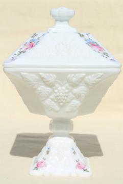 vintage Westmoreland milk glass, hand painted roses & bows paneled grape wedding box