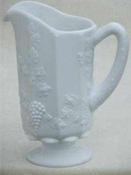 vintage Westmoreland milk glass juice pitcher, paneled grape pattern