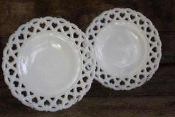 vintage Westmoreland milk glass, open lace edge plates forget me not flower lattice