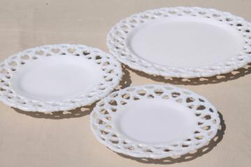 vintage Westmoreland milk glass plates, forget-me-not flowers lattice lace edge