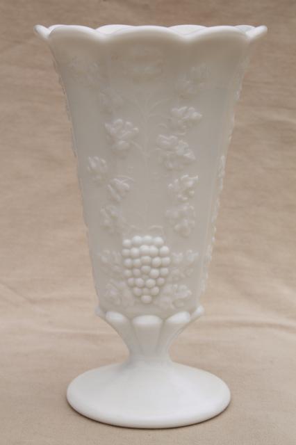 Vintage Westmoreland Paneled Grape Milk Glass Flower Vase For Long