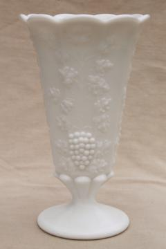 vintage Westmoreland paneled grape milk glass flower vase for long stemmed roses