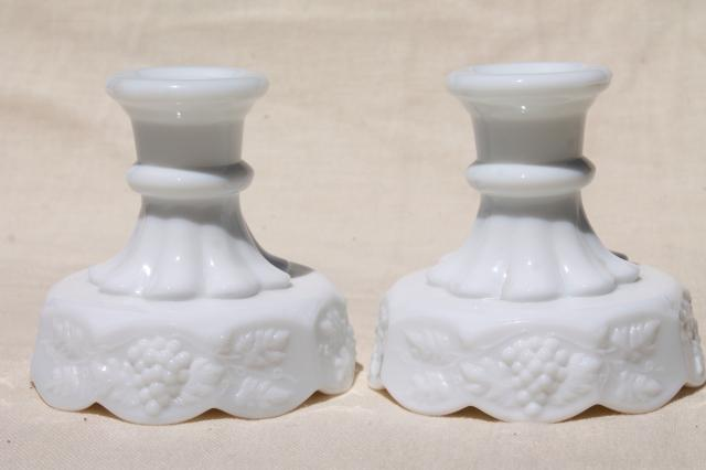 vintage Westmoreland paneled grape milk glass, pair of low candlesticks w/ grapes