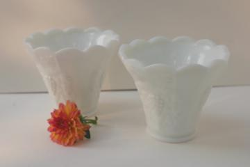 vintage Westmoreland paneled grape milk glass, pair of planters or flower vases