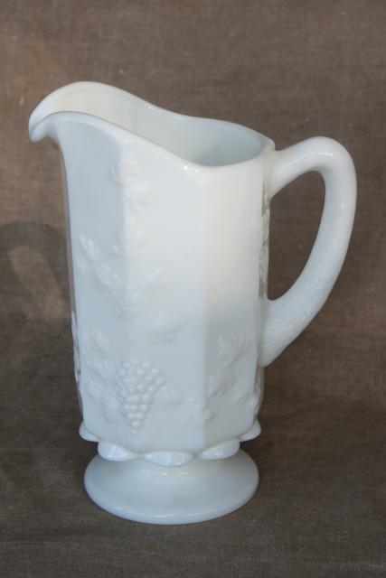 vintage Westmoreland paneled grape pattern milk glass pitcher