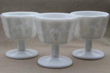 vintage Westmoreland paneled grape pattern milk glass sherbet dishes glasses lot