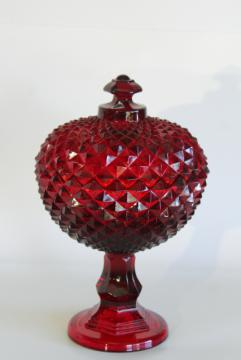 vintage Westmoreland ruby red glass Sawtooth pattern covered compote diamond point
