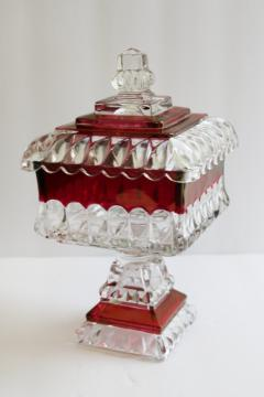 vintage Westmoreland ruby stain glass wedding box, candy dish w/ lid