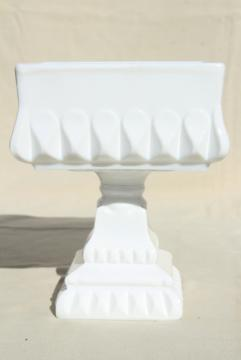 vintage Westmoreland wedding box, milk glass candy dish square pedestal bowl