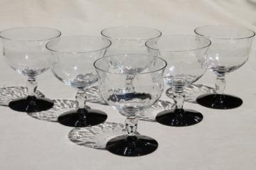 vintage Weston glass champagne glasses, ebony black stems / crystal clear optic glass champagnes