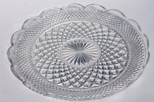 vintage Wexford Anchor Hocking glass torte cake plate large round platter or tray & vintage Wexford Anchor Hocking glass torte cake plate large round ...