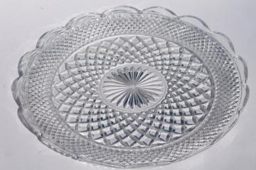 vintage Wexford Anchor Hocking glass torte cake plate, large round platter or tray