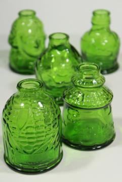 vintage Wheaton bottles, green glass reproduction flasks, mini bottle collection