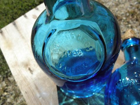 vintage Wheaton decanter bottles, blue glass medicine & liquor bottle lot