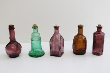 vintage Wheaton style mini bottles, antique decanter reproductions colored glass bottles