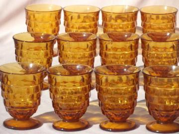 vintage Whitehall Indiana amber glass cube pattern glasses, footed tumblers set