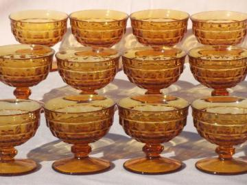 vintage Whitehall amber glass cube pattern sherbet dishes / champagne glasses