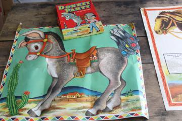vintage Whitman Pin the Tail on the Donkey party games 1940s 1950s complete posters tails