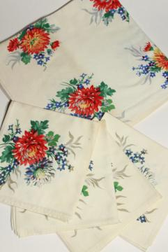 vintage Wilendure printed cotton kitchen table cloth & napkins set, 1940s flower print