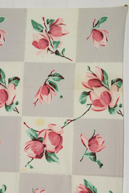 vintage Wilendure printed cotton tablecloths, grey & pink magnolia & dogwood flowers