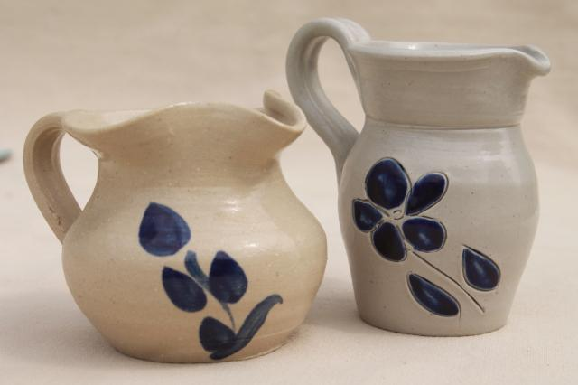 vintage Williamsburg pottery salt glazed stoneware mini pitchers, creamers or milk jugs