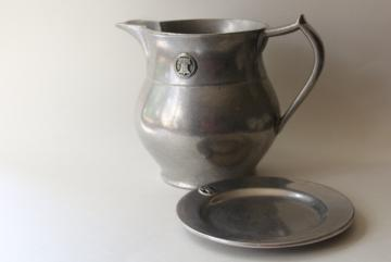 vintage Wilton Armetale Golden Plough Tavern pewter pitcher & coaster w/ Liberty Bell