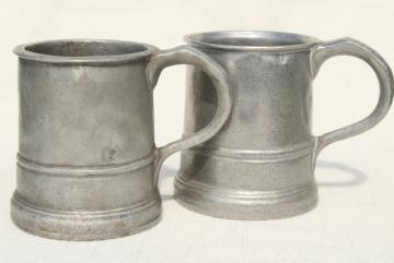 vintage Wilton Armetale pewter beer steins or noggin mugs, tankards or cider cups