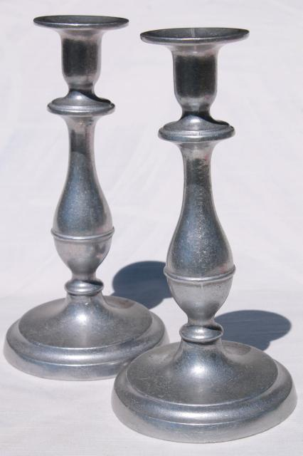 vintage wilton armetale tall pewter rwp mark candle holders