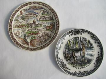 vintage Wisconsin north woods souvenir transferware china plates