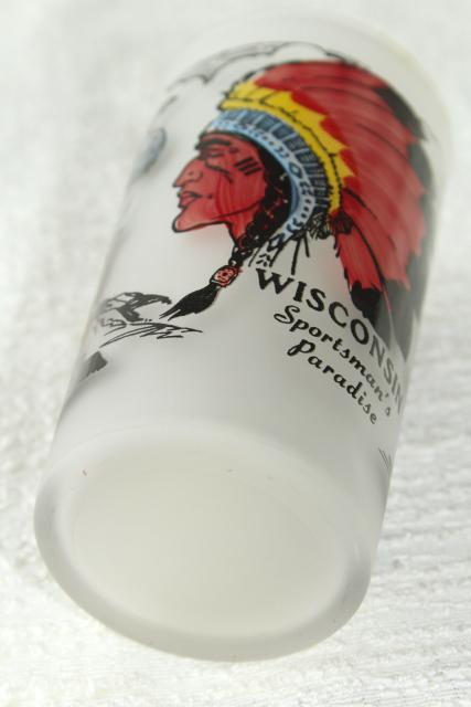 vintage Wisconsin souvenir hunting fishing sportsman camp drinking glass w/ Indian chief