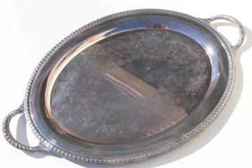 vintage Wm Rogers International silver plate waiter's tray, large serving tray w/ handles