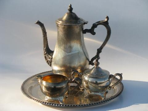 & vintage Wm. Rogers silver plate tea or coffee set w/ pot tray etc.