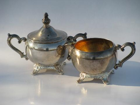 vintage Wm. Rogers silver plate tea or coffee set w/ pot, tray etc.