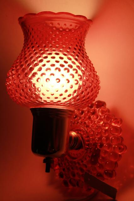 vintage Woolworth's tag pin up wall sconce lamp, cranberry glass pink stain hobnail glass