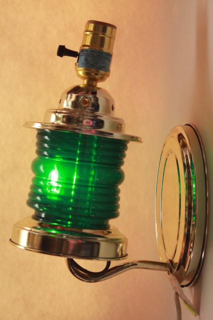 vintage Woolworth's tag pin up wall sconce lamp, ship's lantern green signal light