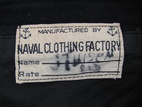 vintage World War II sailor's dress blue wool uniform, w