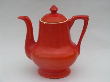 vintage Zanesville thermo-proof kitchen pottery, big orange tea or coffee pot