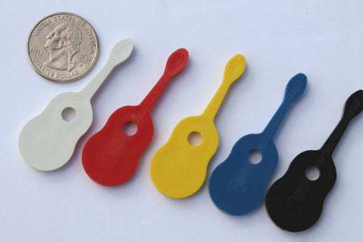 vintage acoustic guitar plastic novelty charms, music festival junk jewelry new old stock lot