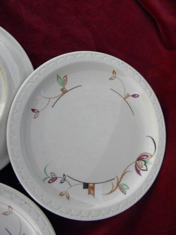 vintage adobe ware tan ironstone restaurantware, deco flowers Syracuse china plates